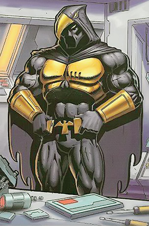Nighthawk (Champions RPG) with golden and black armor at a tool bench