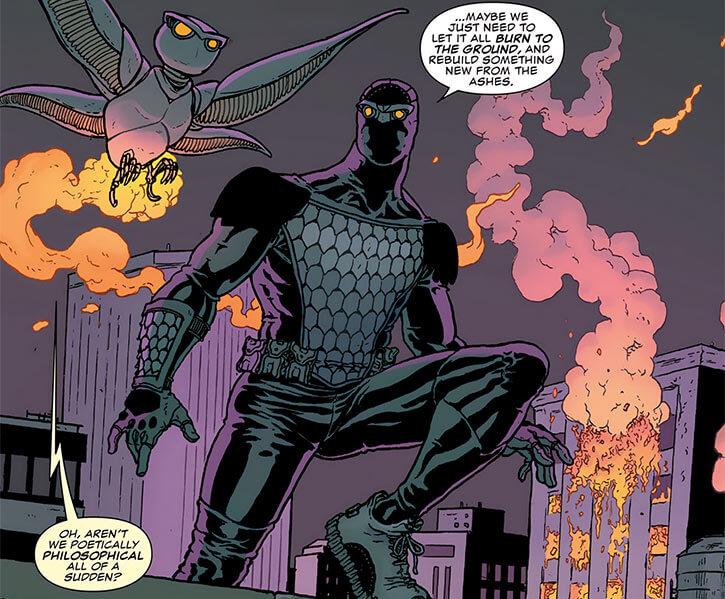 Nighthawk (Marvel Comics) (Raymond Kane, David Walker take) robot owl and burning building