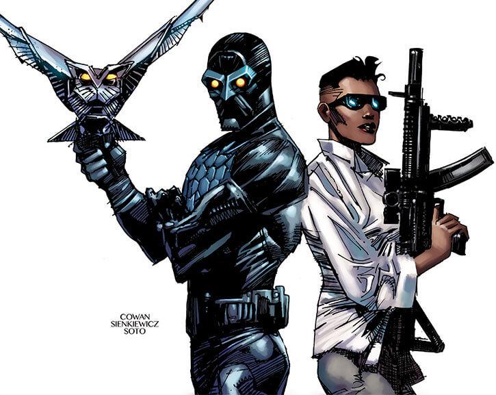 Nighthawk and Nightshade (Marvel Comics) looking badass