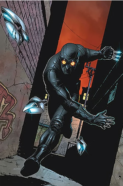 Nighthawk (Supreme Power Marvel Comics) throwing blades in an alley