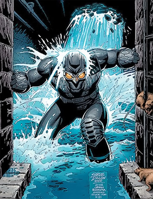 Nighthawk (Supreme Power Marvel Comics) in a flooding sewer