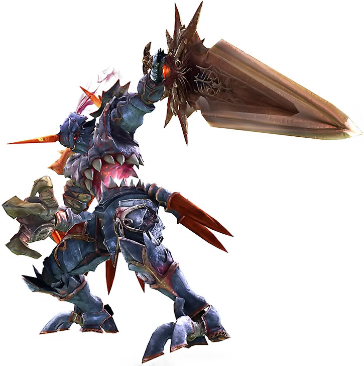 Nightmare pointing its sword on a white background