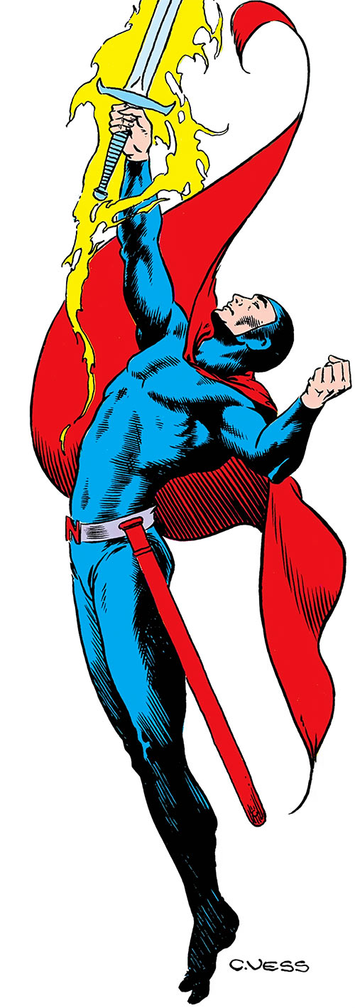 Nightmaster (DC Comics) over a white background, from the Who's Who