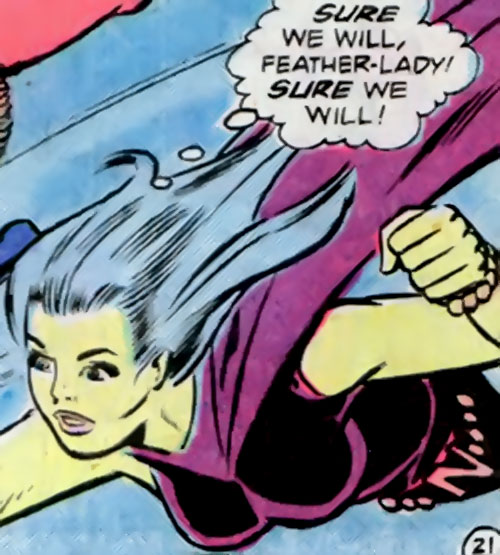 Nightwind of the Legion of Super-Heroes (DC Comics) flying in her violet costume