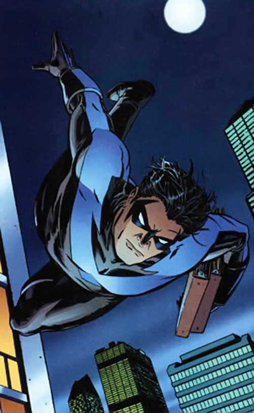 Nightwing diving into the night