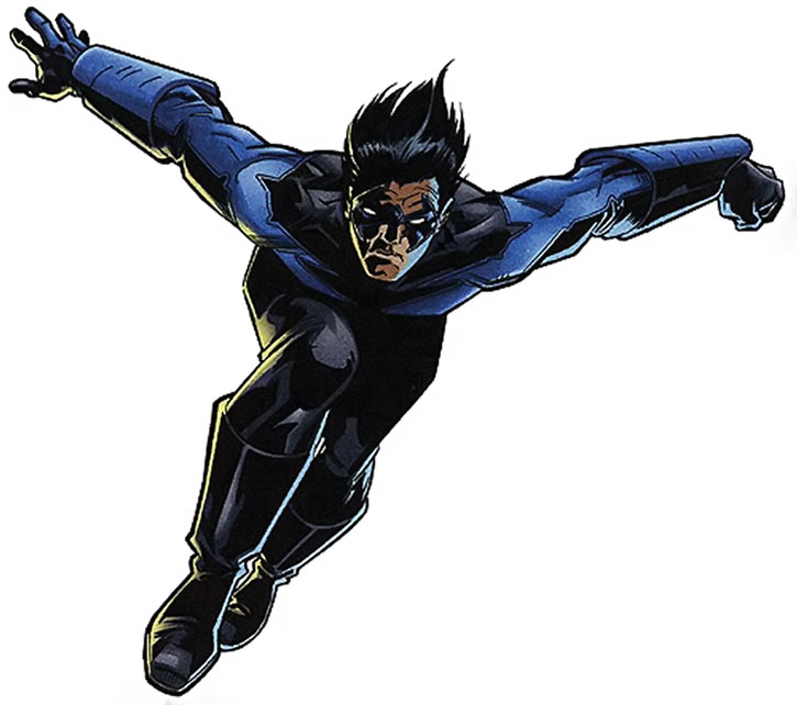 Nightwing (Dick Grayson) jumping, over a white background