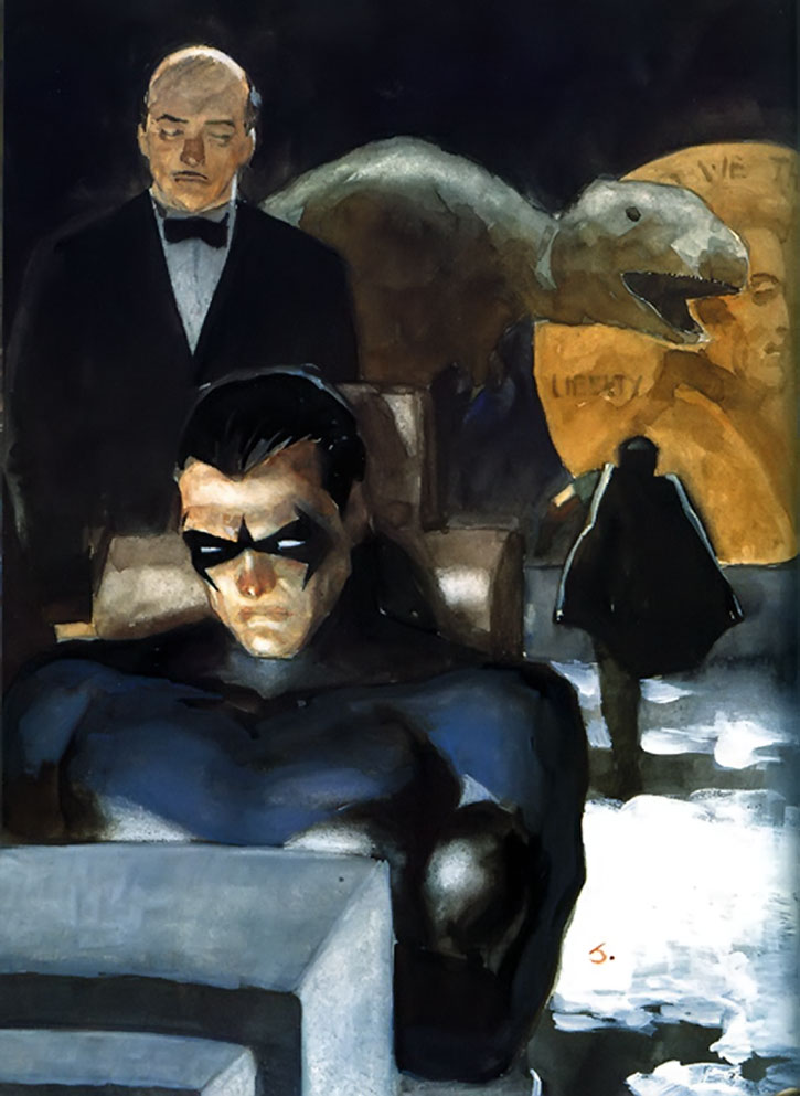 Nightwing (Dick Grayson), Alfred and Robin in the Batcave - painted art