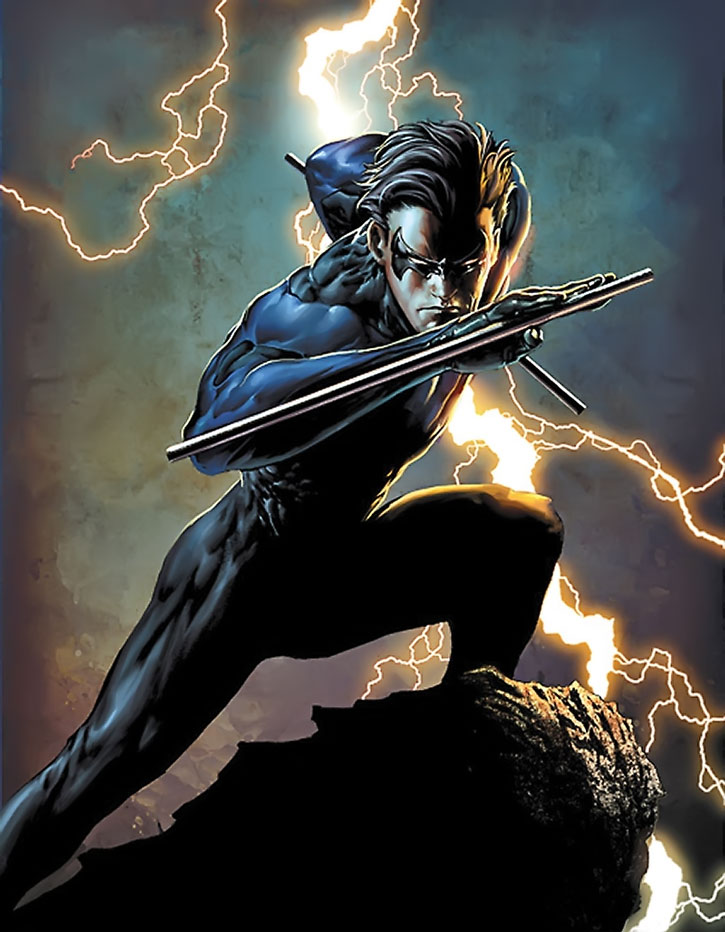 Nightwing (Dick Grayson) posing in front of a thunderbolt, painted art