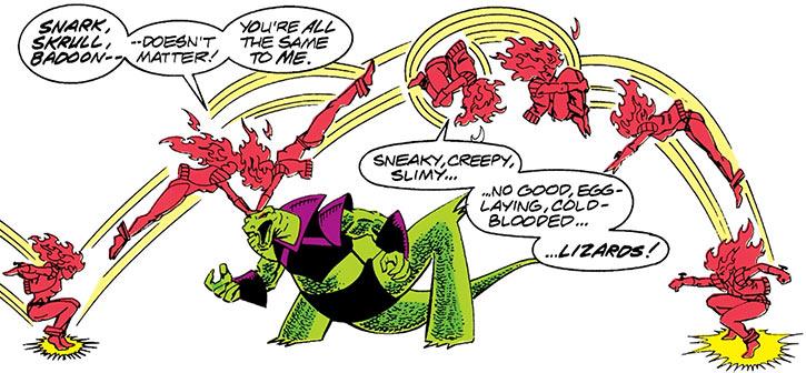 Nikki (Marvel Comics) (Guardians of the Galaxy) acrobatics vaulting over a snark
