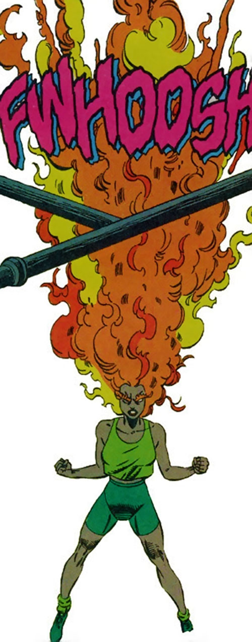 Nikki (Guardians of the Galaxy) (Marvel Comics) has a flamethrower head