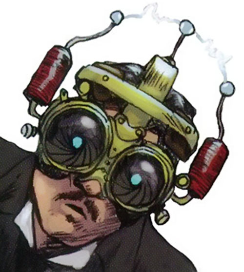 Nikola Tesla (5 fists of science) with a steampunk helmet and goggles
