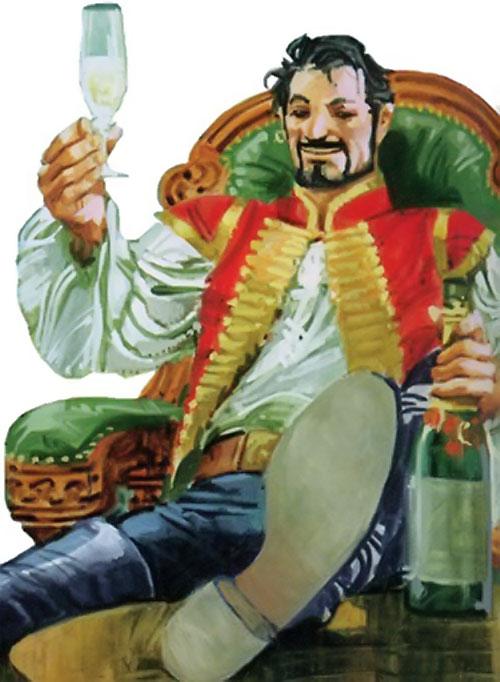 Nikolai Dante (2000AD comics) drinking champagne
