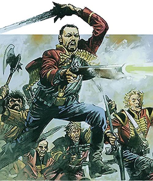Nikolai Dante (2000AD comics) charging with blade and musket
