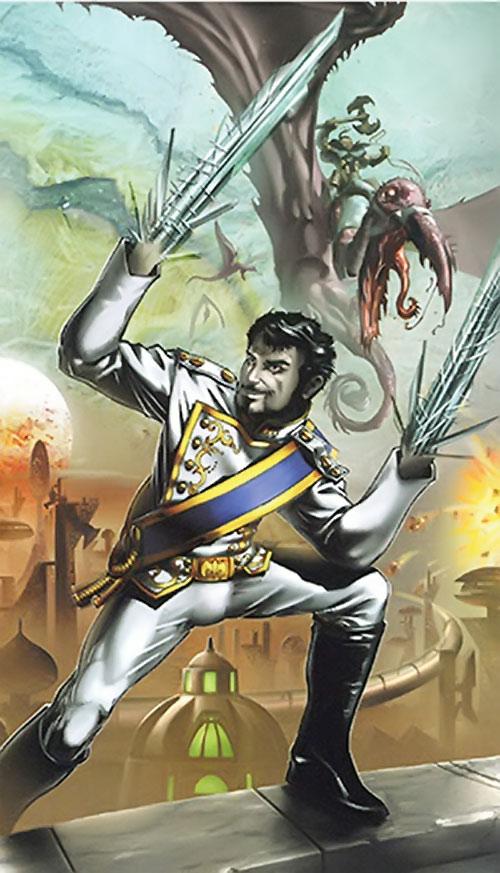 Nikolai Dante (2000AD comics) in a white uniform