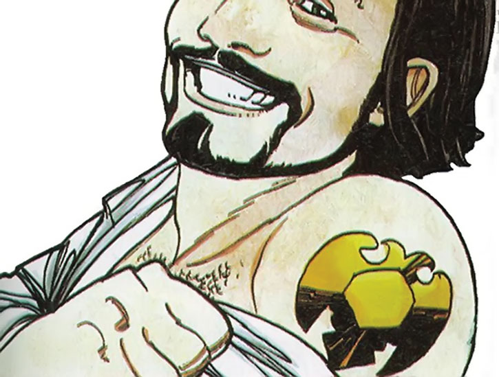 Nikolai Dante shows a golden eagle shoulder tattoo