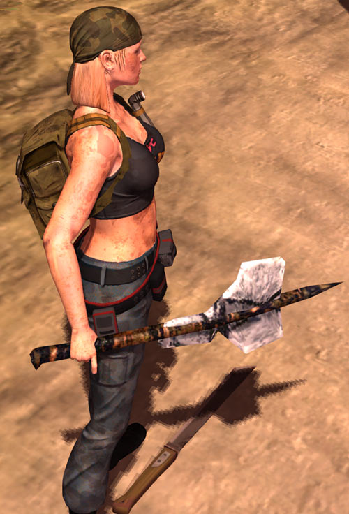 Nina from the How to Survive 2013 video game - stone axe