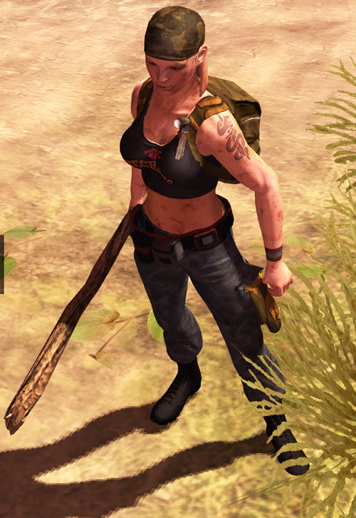 Nina from the How to Survive 2013 video game - high angle shot, stick