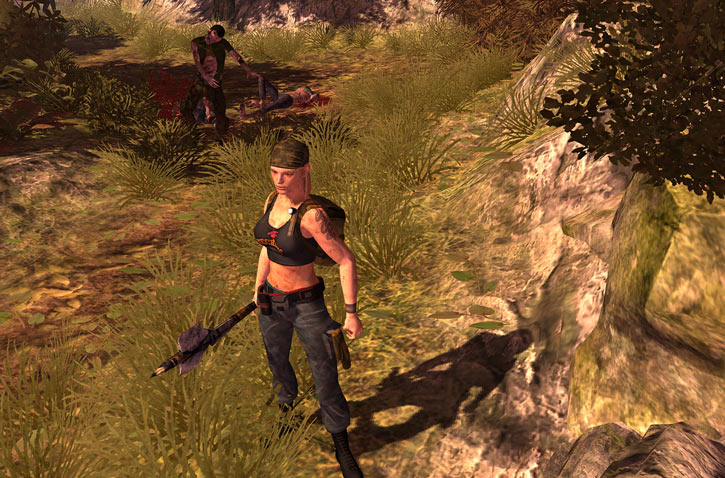 Nina from the How to Survive 2013 video game - near zombies with an axe