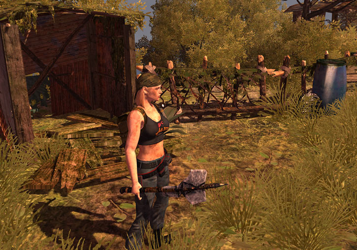 Nina from the How to Survive 2013 video game - near a shack holding a stone axe