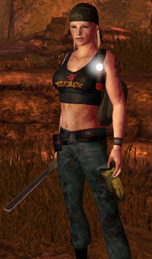Nina from the How to Survive 2013 video game - full view with machete