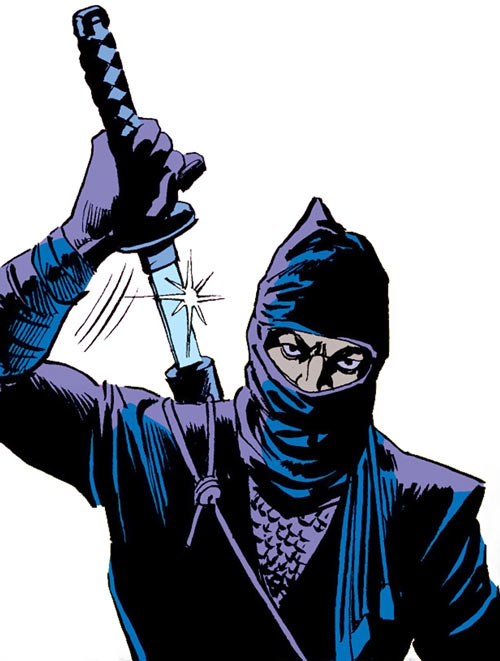 The Ninja (Iron Fist enemy) (Marvel Comics) silently draws his sword