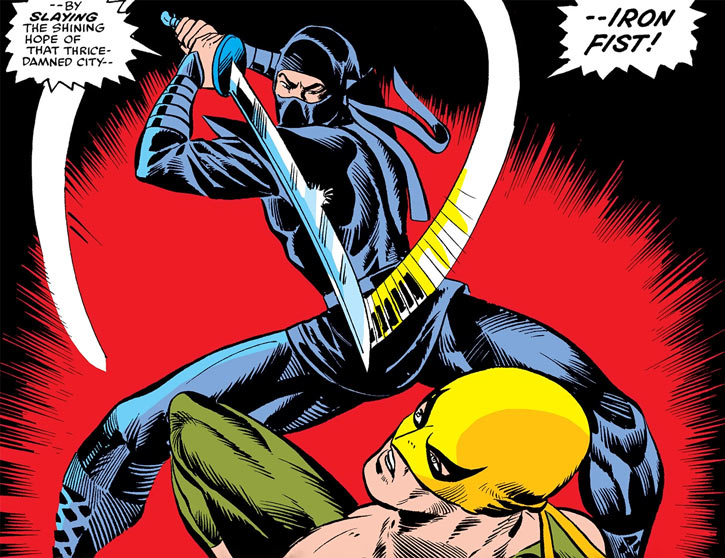 The ninja (Marvel Comics) draws his sword against Iron Fist
