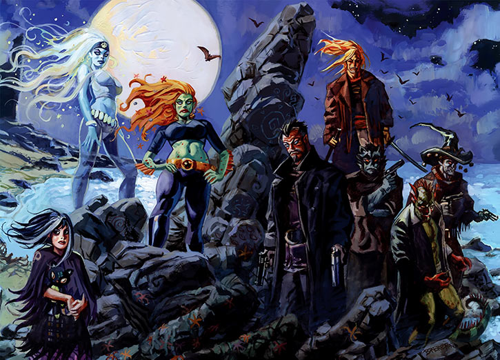 Nocturnals team (Dan Brereton painted comics) on a beach under a full moon