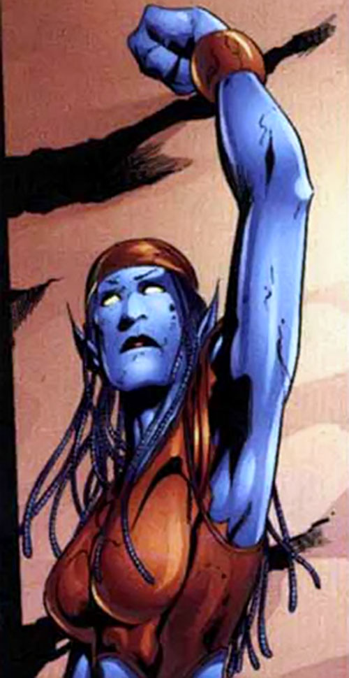 Nocturne of the Exiles (TJ Wagner) (Marvel Comics) raising her fist in victory