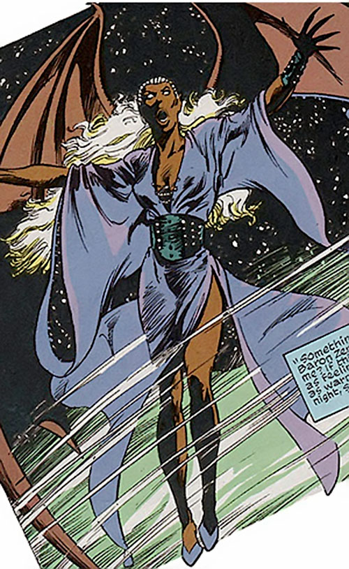 Nocturne (Spider-Man character) (Marvel Comics) in the night sky