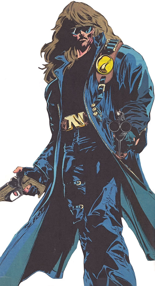Nomad (Marvel Comics) in black leather with long hair