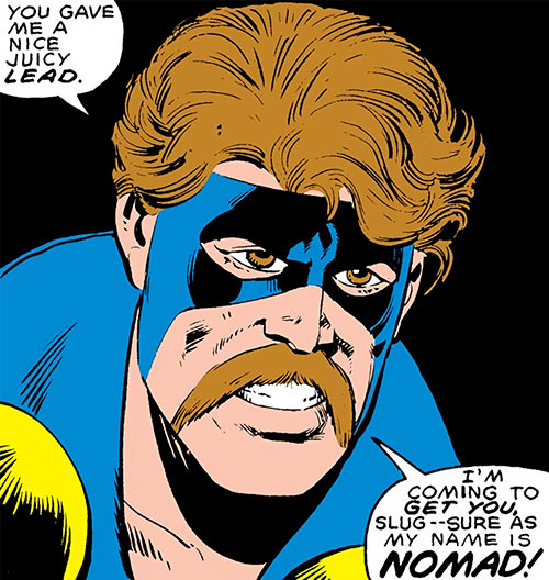 Nomad (Early) (Jack Monroe) (Captain America ally) (Marvel Comics) face closeup with mustache