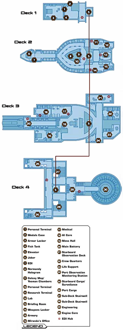 Normandy deck plans in Mass Effect 2, by Prima strategy guides