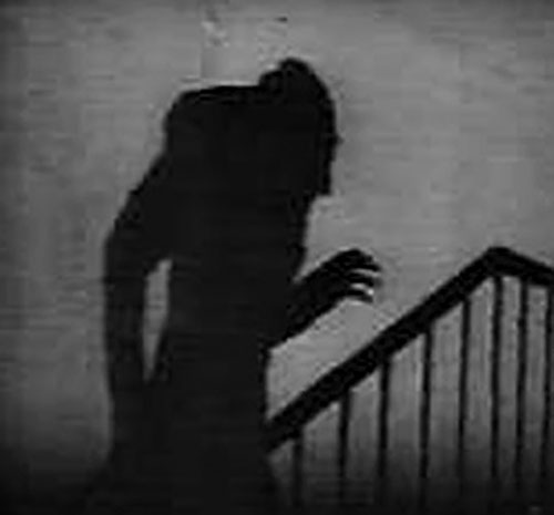 Der Nosferatu (Murnau movie) silhouette on a stairway