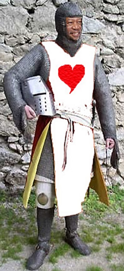 Morgan Freeman in medieval chainmail with a heart emblem