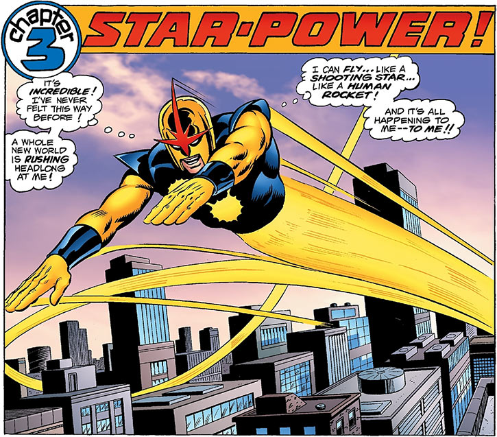 Nova (Richard Rider) (Marvel Comics) (Classic era) earliest flight above the city