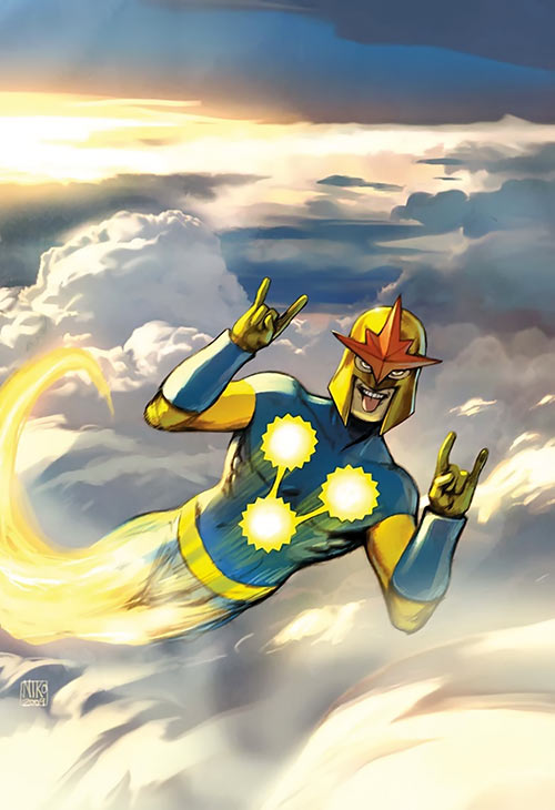 Nova (Marvel Comics) (1990s New Warriors era) flying high and clowning around