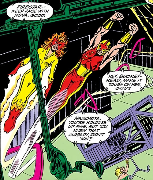 Nova (Marvel Comics) (1990s New Warriors era) training Firestar