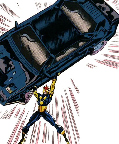 Nova (Marvel Comics) (1990s New Warriors era) lifting a black car