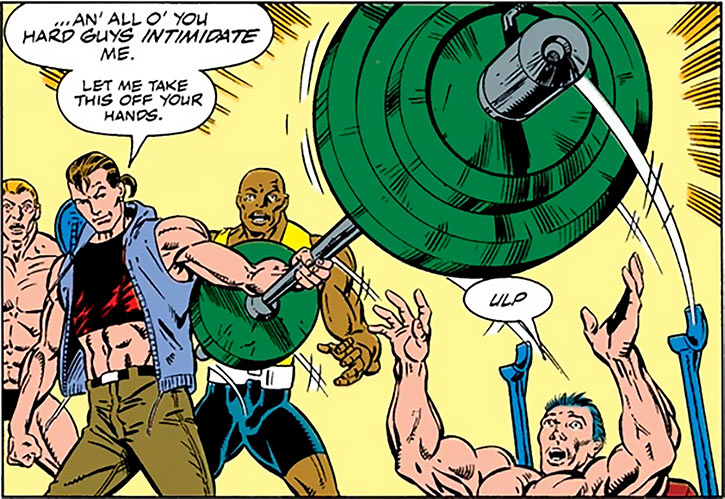 Nova (Marvel Comics) (1990s New Warriors era) impressing gym rats