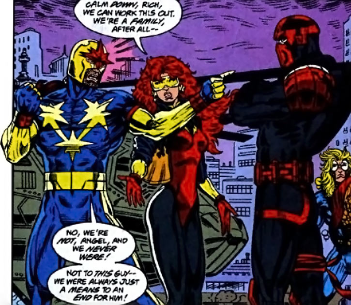 Nova (Marvel Comics) (1990s New Warriors era) with Firestar and Night Thrasher