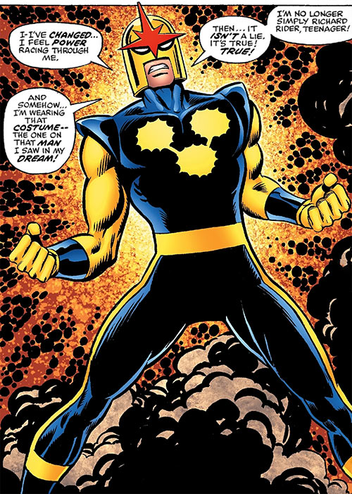 Nova (Richard Rider) (Marvel Comics) (Classic era) glowing with energy