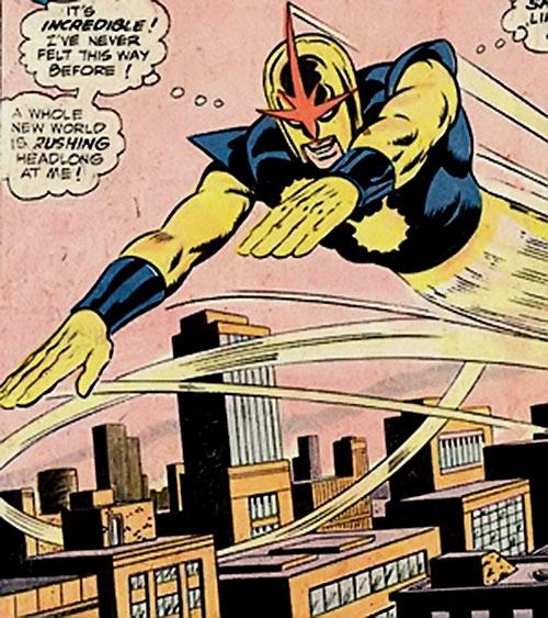 Nova (Richard Rider) (Marvel Comics) (Classic era) zooming above the city