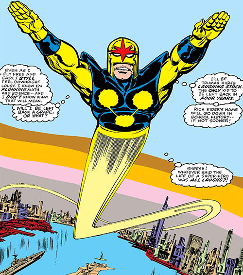 Nova (Richard Rider) (Marvel Comics) (Classic era) flying over New York City