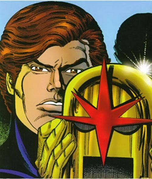 Nova (Richard Rider) (Marvel Comics) (Classic era) taking off his helmet