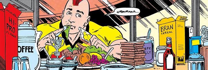 Nuklon of Infinity, Inc. (DC Comics) having a huge breakfast