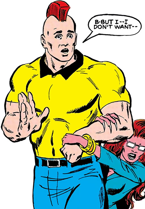 Nuklon of Infinity, Inc. (DC Comics) in jeans and a yellow polo with Wildcat (Montez)