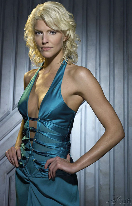 Number 6 (Tricia Helfer in Battlestar Galactica) in a blue dress