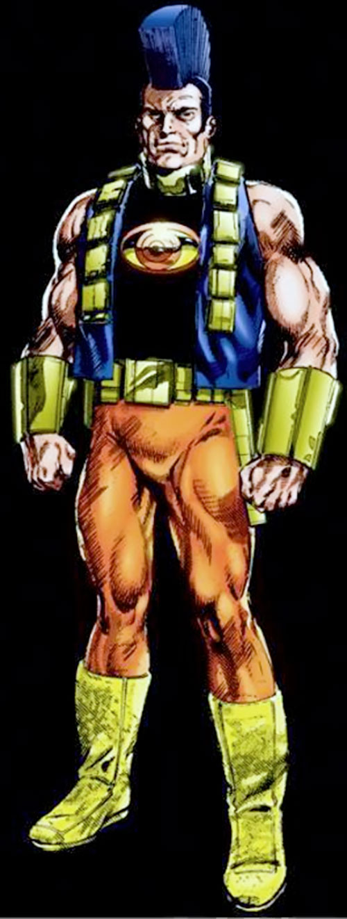 OMAC (Byrne version) with the colorful costume and the mohawk