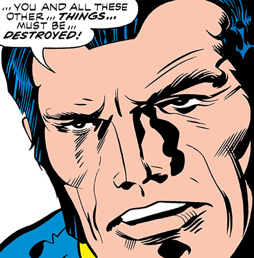 Jack Kirby's OMAC (DC Comics) face closeup