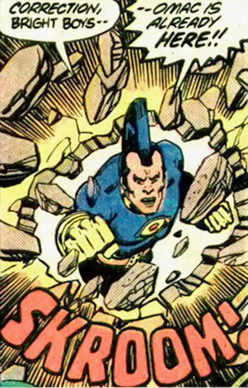 Jack Kirby's OMAC (DC Comics) punches through a wall